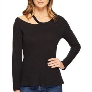 LNA Black Long Sleeve Slash Top